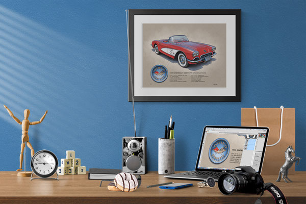 Here is the 1959-1960 Corvette drawing in a nice decorative context of a home office