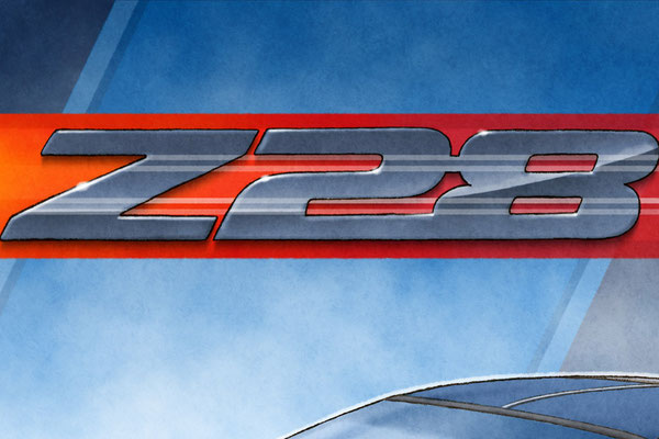 The Z28 background emblem and decorative graphics add authenticity to the drawn portrait