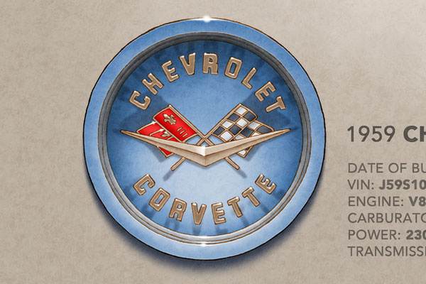 The Corvette decorative hood emblem add authenticity to the drawing that pleases owners of this car
