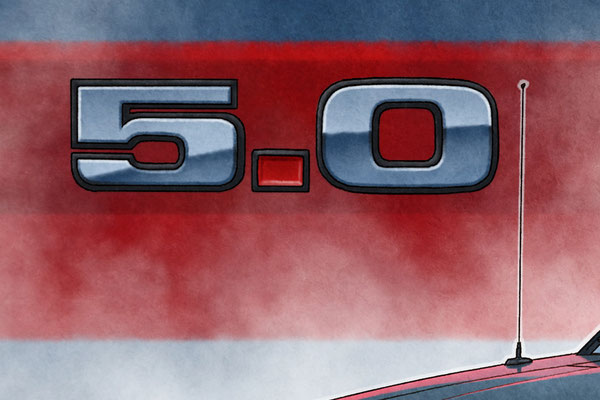 The fender 5.0 emblem has been drawn in all its details
