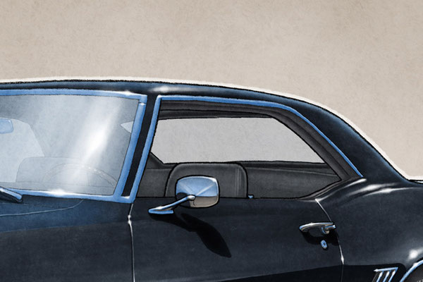The 1969 model year Camaro SS drawing shows the interior in all it's factory details