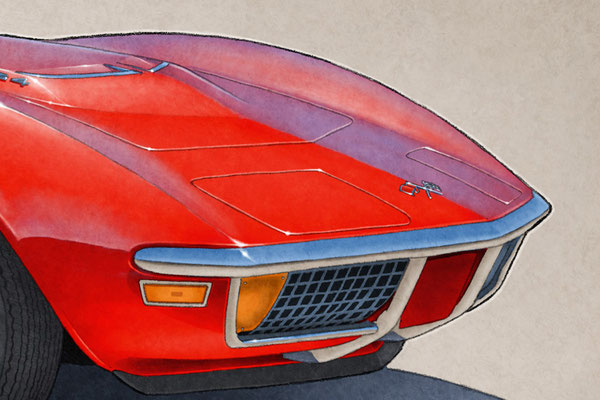 """The 1970-1972 model years Corvette drawing shows a detailed front end and blue sky reflection on the bodywork on the 16""""X20"""""""