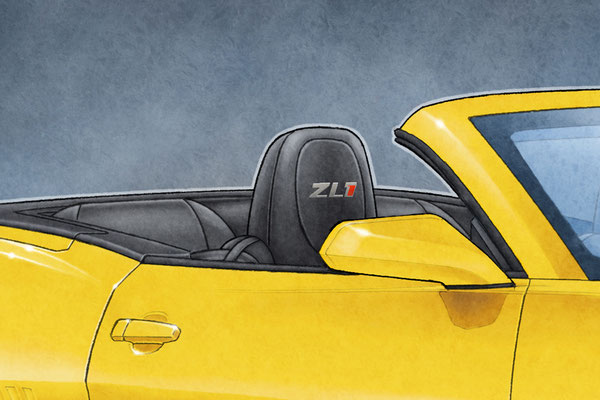 Seats are drawn accurately with the ZL1 lettering that is appearing on the headrests