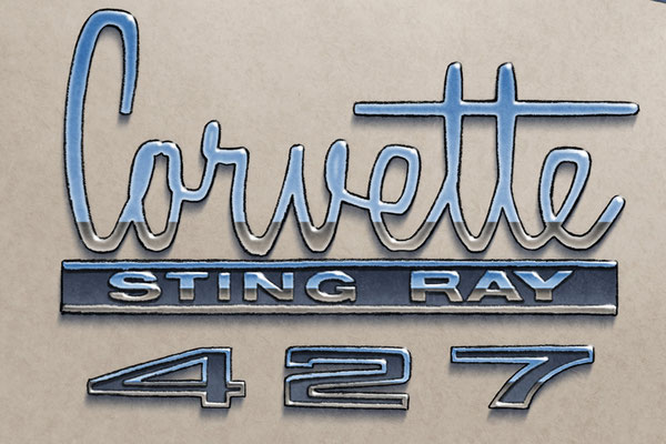The Corvette Sting Ray and 427 decorative lettering add authenticity to the drawing that will please owners of this car