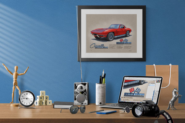 Here is the 1965 Corvette drawing in a nice decorative context of a home office