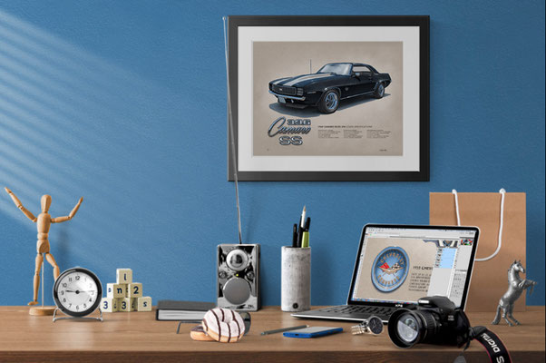 Here is the 1969 Camaro SS 396 drawing in a nice decorative context of a home office