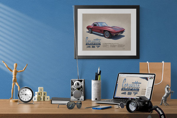 Here is the 1967 Corvette drawing in a nice decorative context of a home office