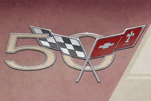 The C5 Corvette fender emblem is nicely rendered on this C5 Corvette artwork