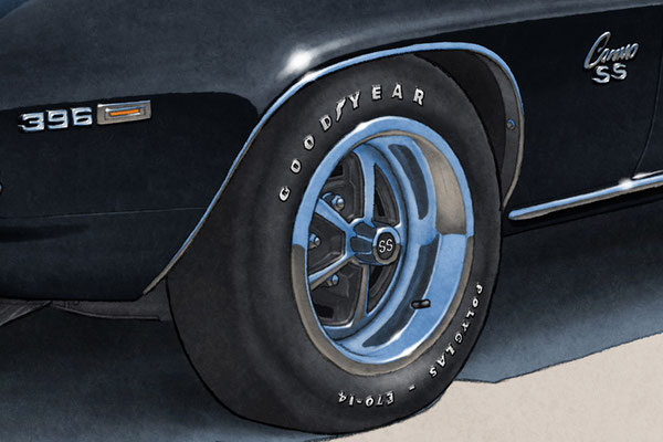 Good Year Polyglass tire lettering is one of the main features of the 1969 model year Camaro SS drawing
