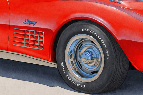 BF Goodrich Radial T/A tire lettering and tread are one of the main features of the 1970-1972 model years Corvette drawing