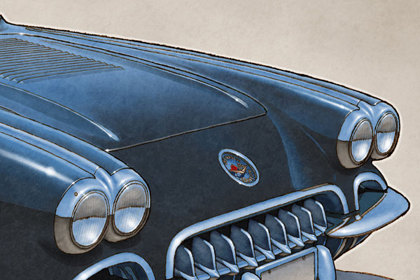 """The 1958 Corvette drawing shows a highly detailed front end and blue sky reflection on the bodywork on the 16""""X20"""""""