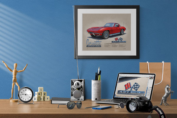 Here is the 1966 Corvette drawing in a nice decorative context of a home office