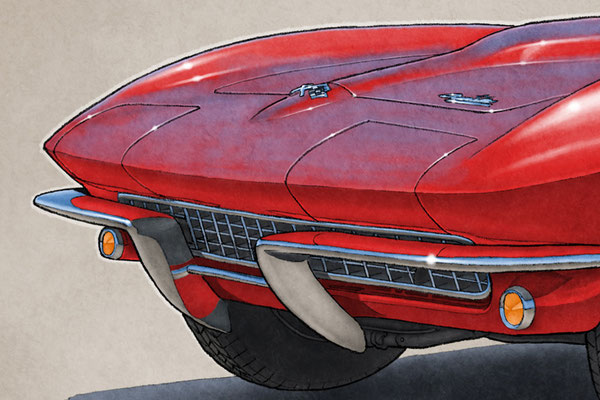 "The 1966 model year Corvette drawing shows a detailed front end and blue sky reflection on the bodywork on the 16""X20"" printed drawing"