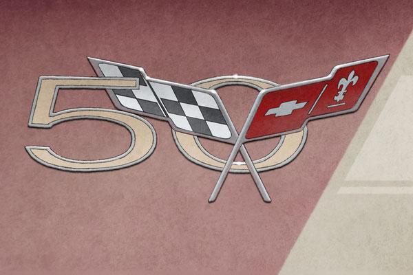 Le logo de la Corvette 50e anniversaire 2003 est reproduit dans tous ses détails