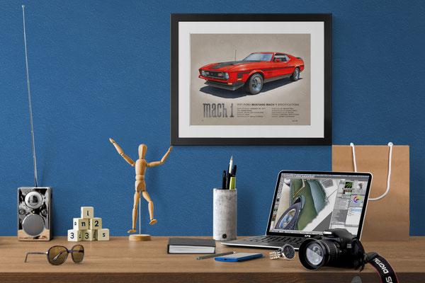 """Voici le dessin au look """"vintage"""" de la Mustang Mach 1 1971 dans la couleur bright red"""