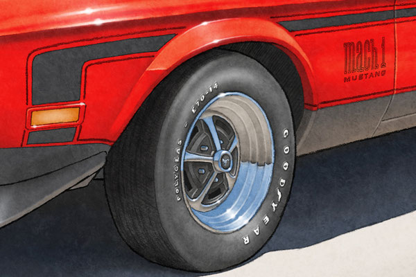 Tire letterings can be change to match tires installed on your Mach 1