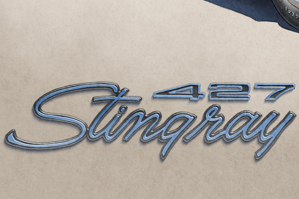 The Stingray lettering decorative fender emblem add authenticity to the drawing that will please owners of this car