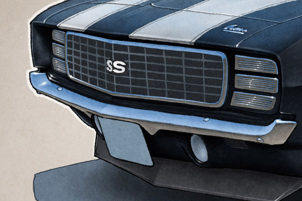 """The 1969 model year Camaro SS 396 drawing shows a detailed front end and blue sky reflection on the bodywork on the 16""""X20"""""""