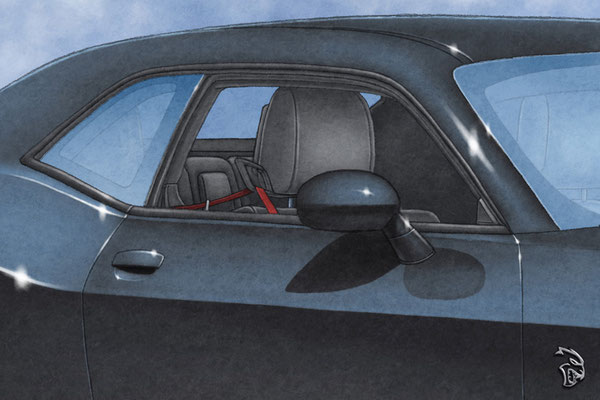 Interior, like the rest of the drawing is also highly detailed. Notice the red seat belt!