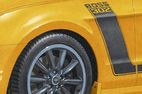 The wheels and side stripes are drawn in respect of details