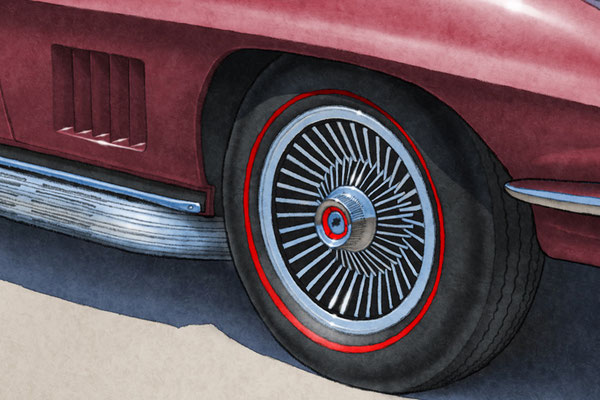 2 tire colored lines and treads are one of the main features of the 1967 model year Corvette drawing