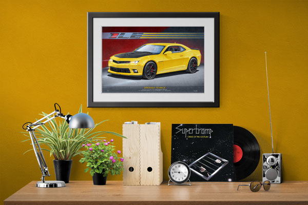 Here is the Camaro SS 1LE drawn portrait in a home office decorative context
