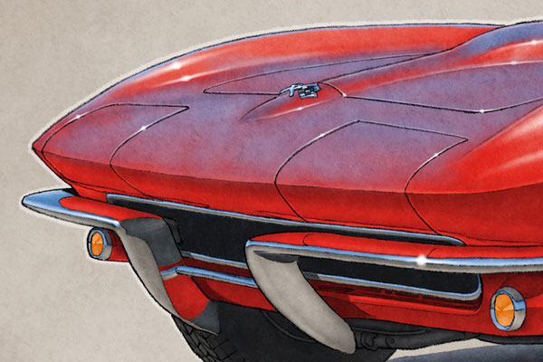 "The 1965 model year Corvette drawing shows a detailed front end and blue sky reflection on the bodywork on the 16""X20"" printed drawing"