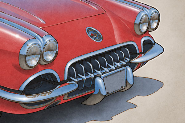 """The 1959-1960 model year Corvette drawing shows a highly detailed front end and blue sky reflection on the bodywork on the 16""""X20"""""""