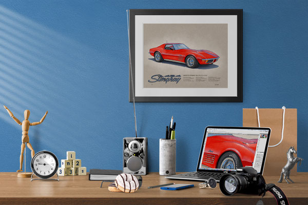 Here is the 1970-1972 Corvette drawing in a nice decorative context of a home office
