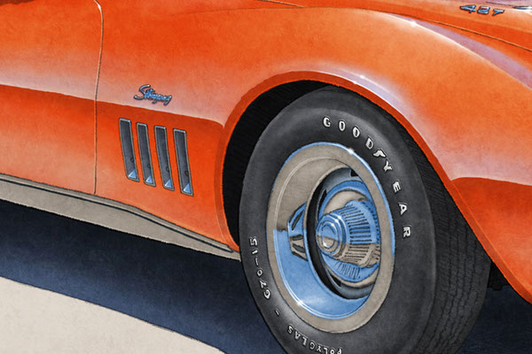 Good Year Polyglass tire lettering and tread are one of the main features of the 1969 model year Corvette drawing