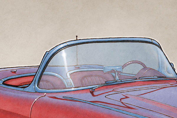 The 1959-1960 model year Corvette drawing shows the interior in all it's factory details