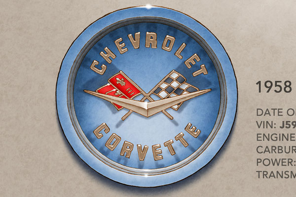 The 1958 Corvette decorative hood emblem add authenticity to the drawing that pleases owners of this car