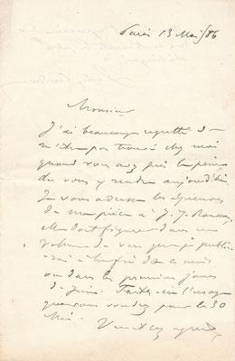 Sully Prudhomme lettre autographe signée