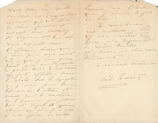 Adèle TOUSSAINT SAMSON lettre autographe signée achat vente CD Galerie