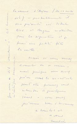 Jean Fautrier lettre autographe signée peinture exposition
