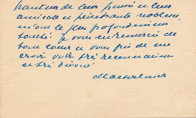 Maurice MAETERLINCK (1862-1949) carte autographe signée L'Araignée de verre