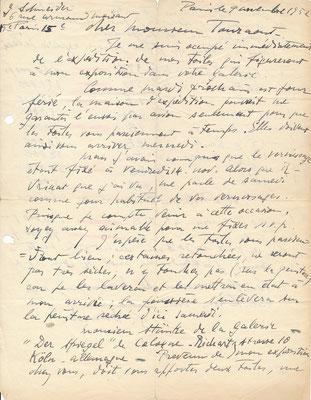 Gérard SCHNEIDER peintre lettre autographe signée achat peinture exposition prix