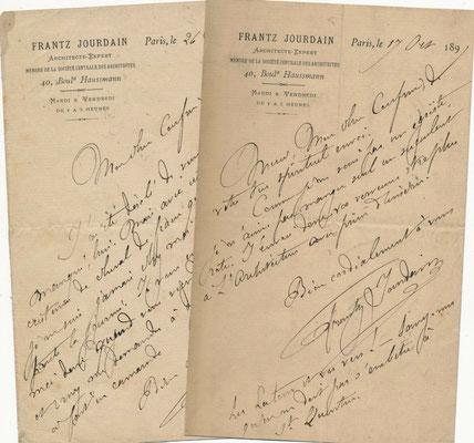 Frantz Jourdain lettre autographe signée