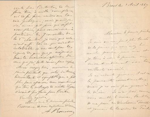 PROCÈS DE TRÉFLEZ - DUNES DE KEREMMA, FINISTÈRE], Armand ROUSSEAU lettre autographe signée