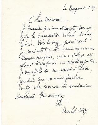 Michel Ciry peinture lettre autographe signée Pierre Benoit