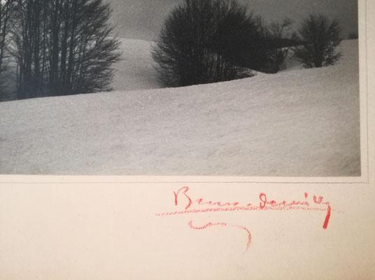 Blanc et Demilly : Paysage de neige, tirage argentique d'époque