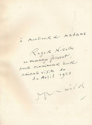 Lettre autographe signée Roger Wild