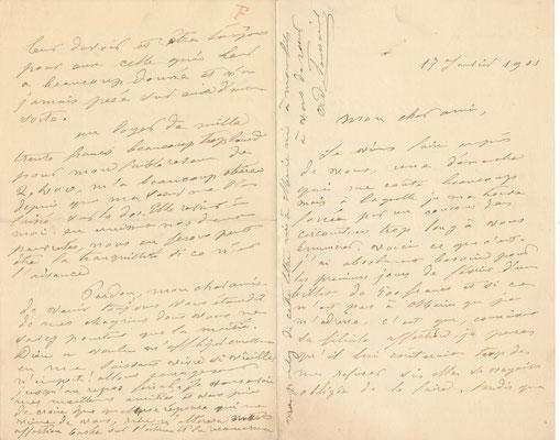 Adèle TOUSSAINT SAMSON lettre autographe signée