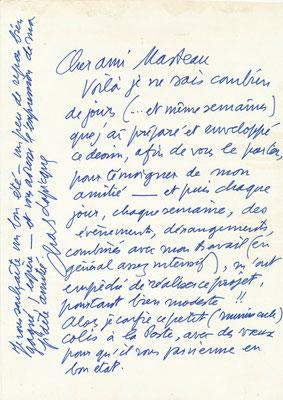 Charles Lapicque lettre autographe signée avec dessin