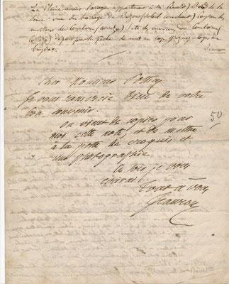 Jeanron lettre autographe signée