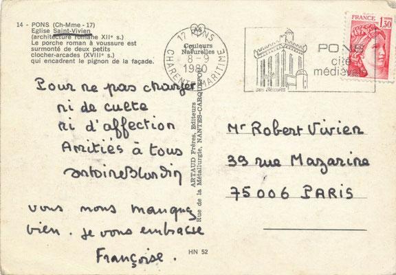 Antoine Blondin carte postale autographe signée