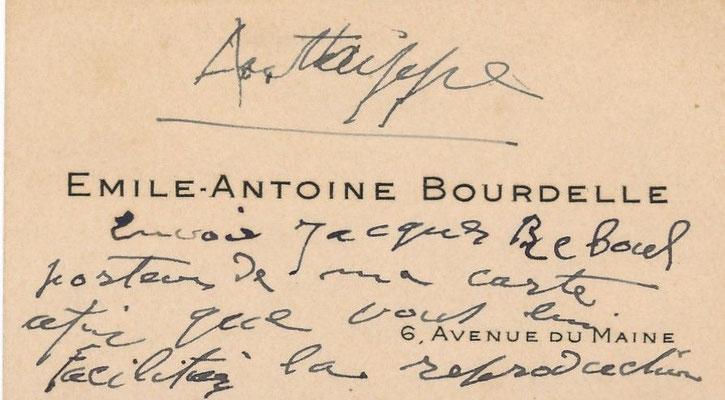 Antoine Bourdelle carte autographe signé Isadora Duncan danseuse