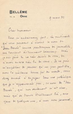 Roger MARTIN DU GARD lettre autographe signée