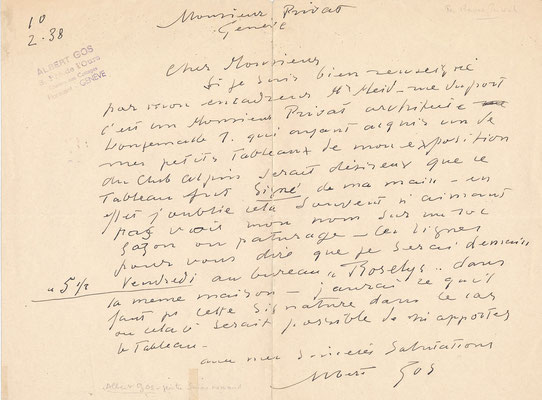 Lettre autographe signée Alfred Gos suissse