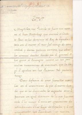 Pedro Pablo ABARDA DE BOLEA CD Galerie achat vente lettres